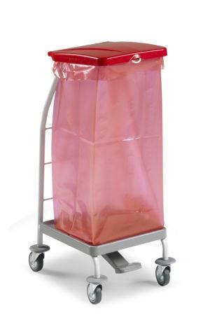 Тележка Dust, пластиковая с педалью и крышкой для мешка 70л