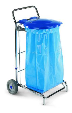 Тележка Dust с педалью и синей крышкой для наружного использования